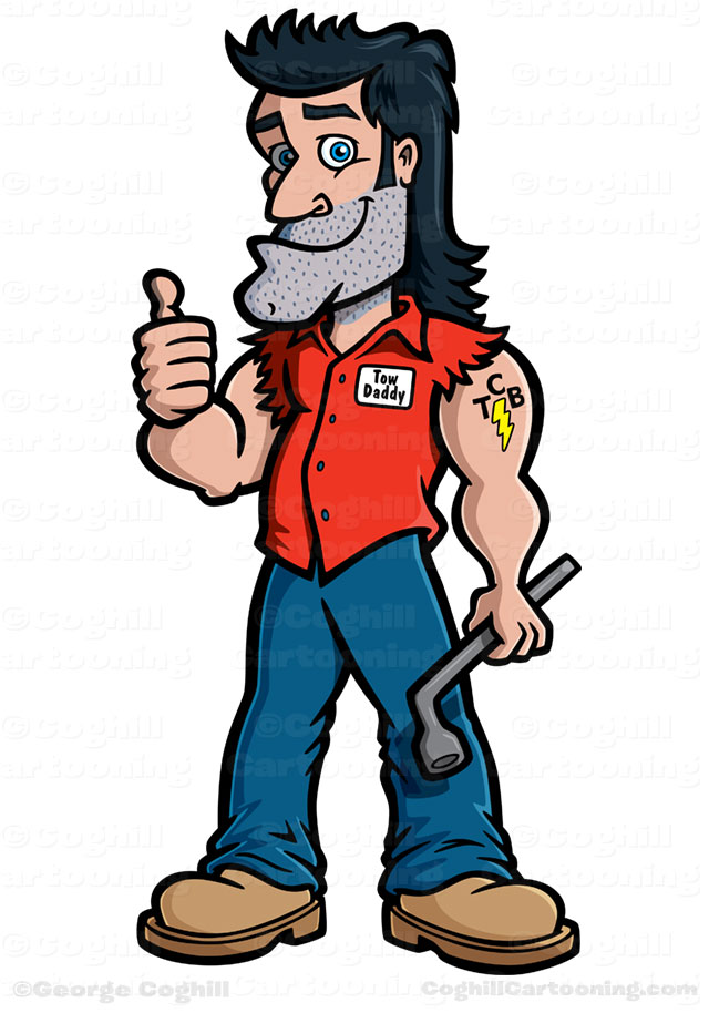Tow Daddy Tow Truck Driver Mechanic Cartoon Character Was Created As A