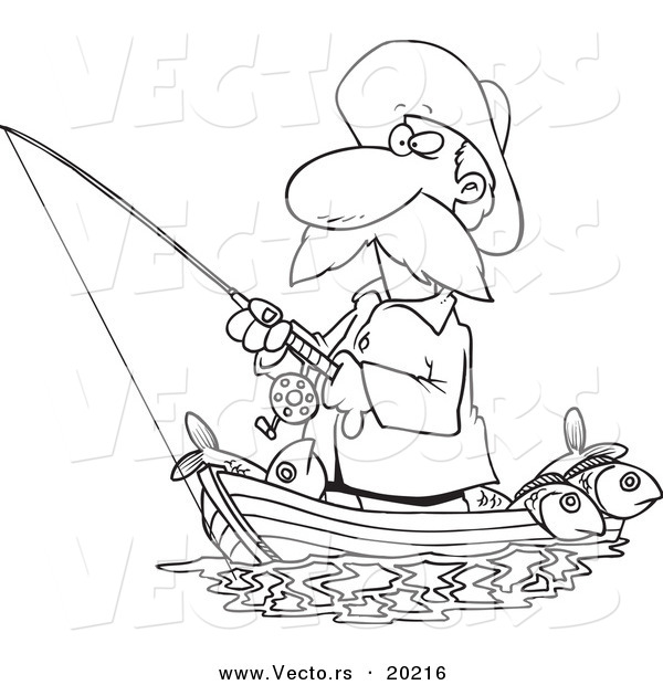 Vector Of A Cartoon Fisherman Standing In His Boat   Outlined Coloring