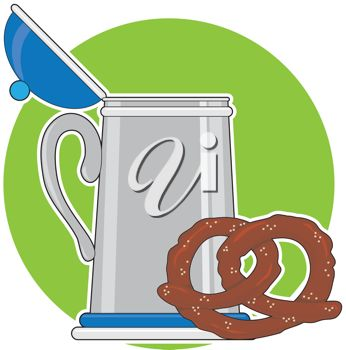 Beer Stein And A Salted Pretzel Sitting On A Green Background