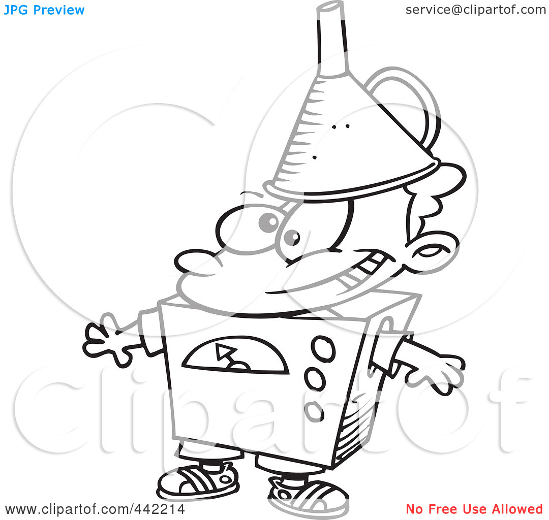 Black And White Outline Design Of A Kid Dressed As A Robot 1024442214