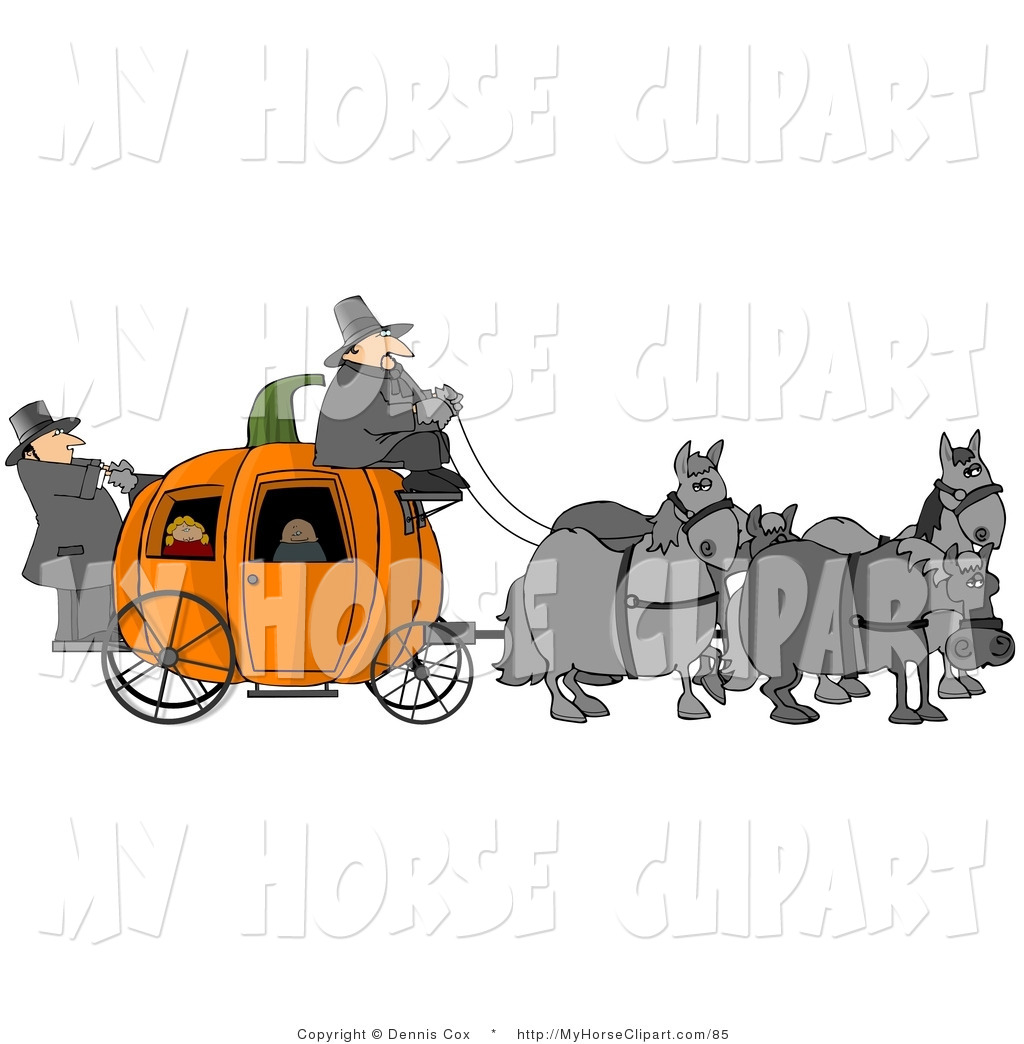 Clip Art Of Horses Pulling People On A Fairy Tale Pumpkin Carriage