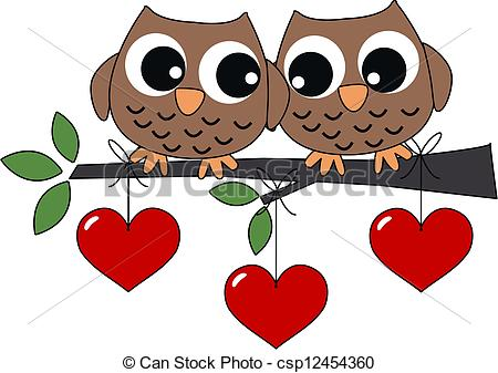 Clip Art Vector Of Two Sweet Owls In Love   Valentines Day Or