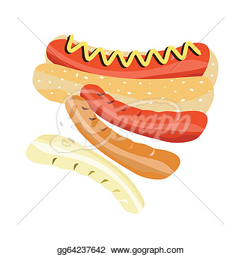 Clipart   Delicious Hot Dog On A White Background  Stock Illustration
