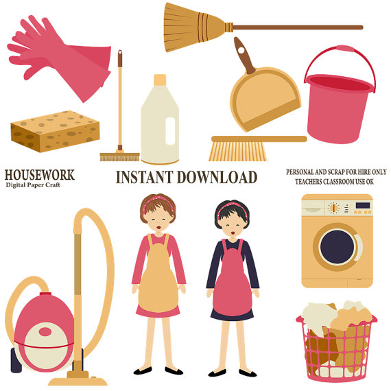 Clipart Housework Commercial Use For Card Design Scrapbooking And