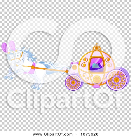 Clipart White Horses Pulling A Fairy Tale Carriage   Royalty Free