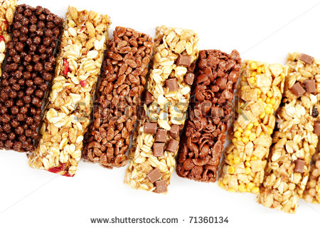 Granola Bars On White Background   Diet And Breakfast   Stock Photo