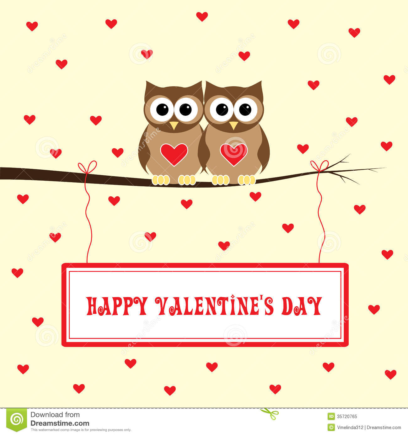 Happy Valentine S Day Brown Owls Love Yellow Background 35720765 Jpg