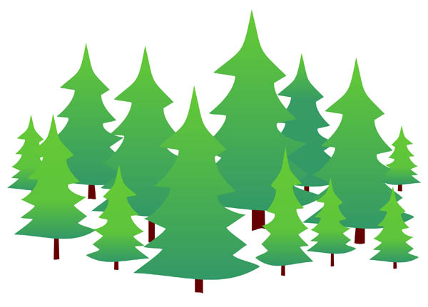 Illustration Of Evergreen Trees On A Plain White Background