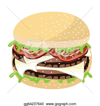 Juicy Cheese Burger On A White Background  Clipart Gg64237640
