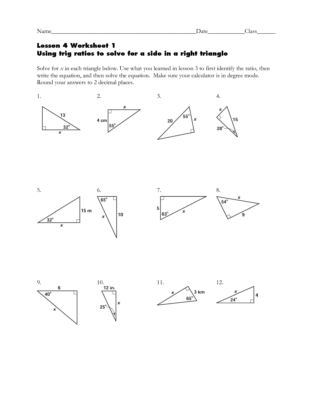 worksheet Free Trigonometry Worksheets trigonometry word y clipart kid lesson 4 worksheet 1 using trig ratios to solve name by murplelake77