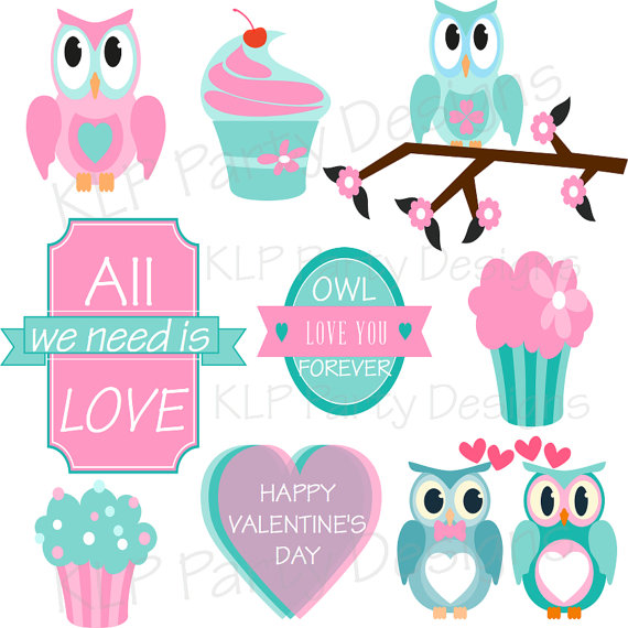 Owl Theme Valentine S Day Clipart By Klppartydesigns On Etsy