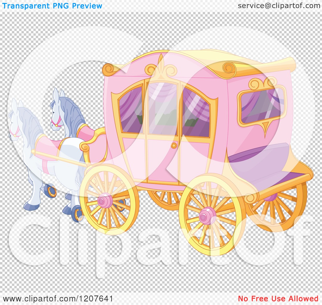 Pink Fairy Tale Horse Drawn Carriage   Royalty Free Vector Clipart