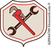 Pipe Wrench Spanner Crossed Shield Cartoon
