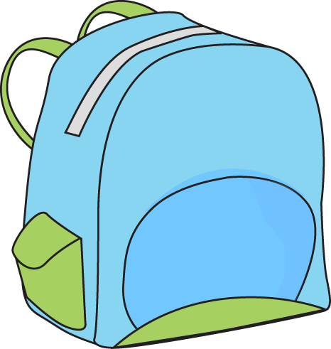 School Backpack Clip Art Image   Blue School Backpack With Green