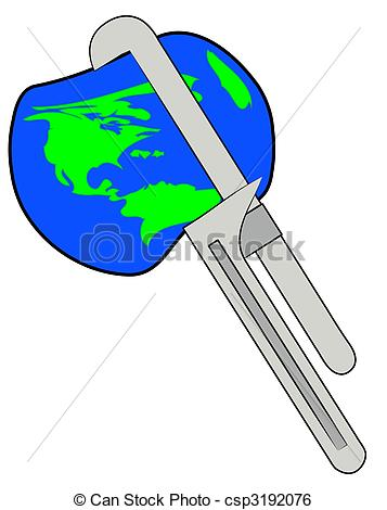 Stock Illustration   Earth Being Squeezed With A Pipe Wrench   Stock