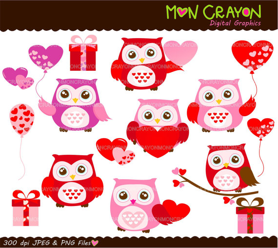 Valentine S Day Owls And Heart Instant Download Digital Clipart Owls