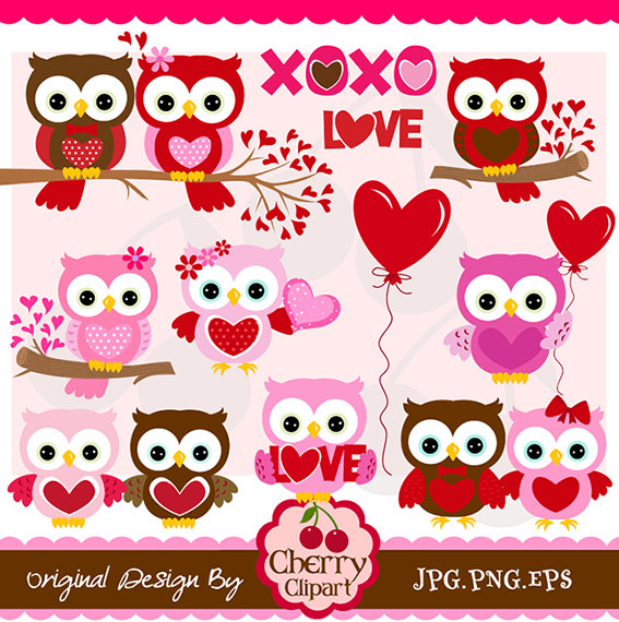 Valentine S Day Sweet Owls Digital Clipart Set Personal And Commercial