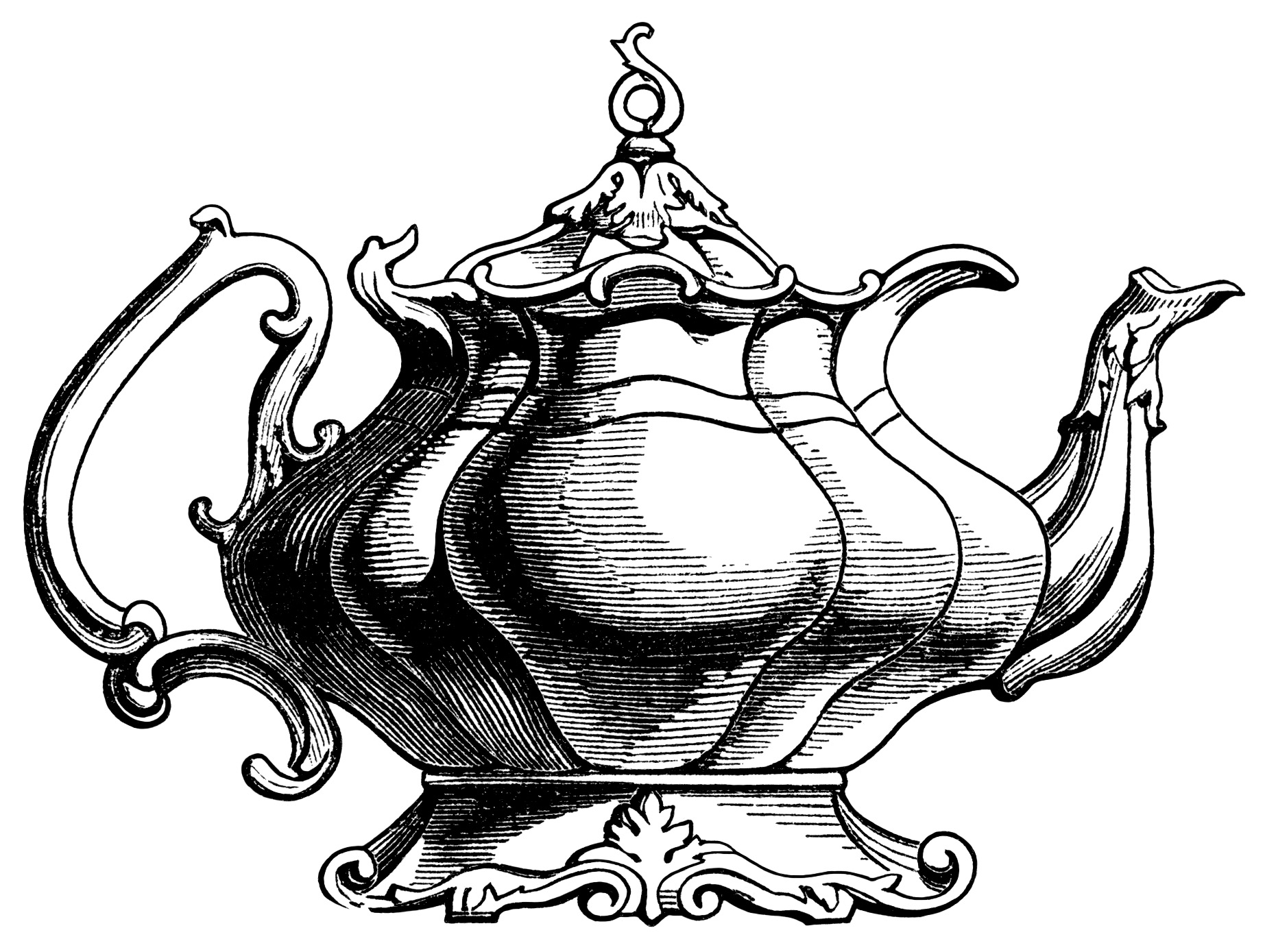 Victorian Tea Pot Illustration Vintage Teapot Clipart Black And
