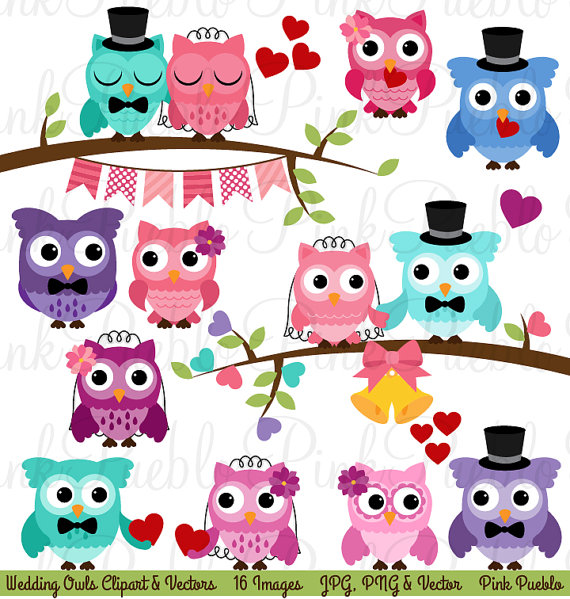 Wedding Owl Clipart Clip Art Wedding Or Valentine S Day Owls Clipart