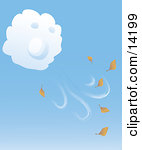 White Cloud Blowing Fall Leaves Into The Air Clipart Illustration