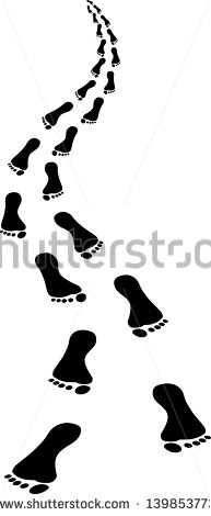Approaching Footsteps   Clip Art Illustration   Stock Vector