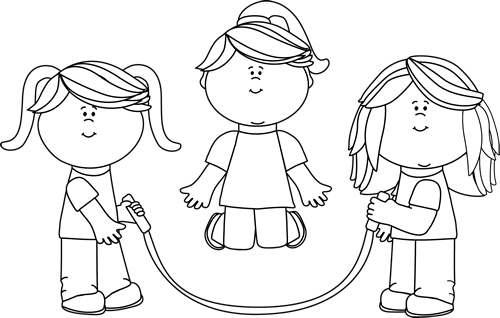 Black And White Girls Jumping Rope Clip Art   Black And White Girls