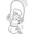 Black And White Jump Rope Clipart Cartoon Girl Jumping Rope