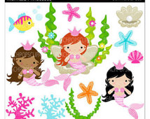 Buy 2 Get 1 Free Sale   Cute Mermai D Clipart Digital Clip Art Girls