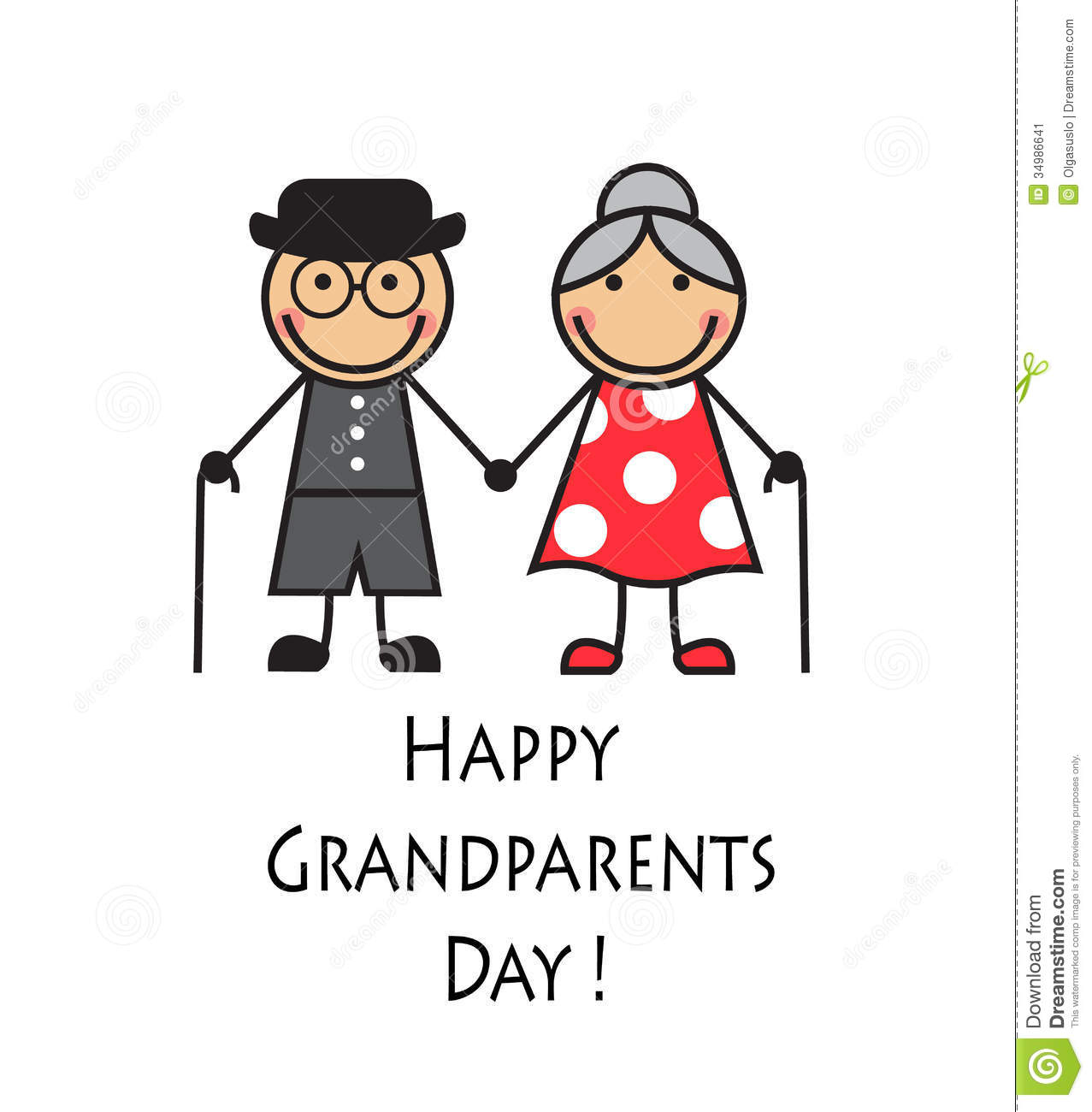 Cartoon Grandparents With Canes On A White Background