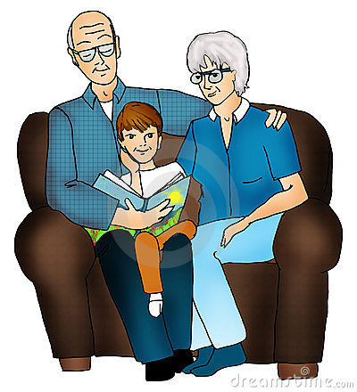 Caucasian Grandparents Family Group Portrait In Cartoon Style