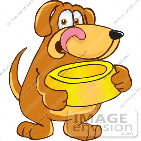 Clip Art Graphic Of A Hungry Brown Hound Dog Cartoon Character Licking