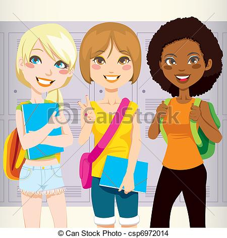 Eps Vector Of School Friends   Three Teenage Schoolgirls Back To