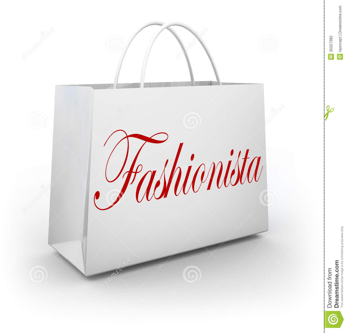 Fashionista Word On A Paper Shopping Bag Illustrating A Person Who Is