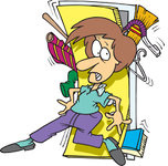 Free Rf Clip Art Illustration Of A Cartoon Woman With A Messy Closet