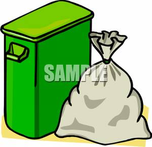 Green Trash Can With A Trash Bag Beside It   Royalty Free Clipart