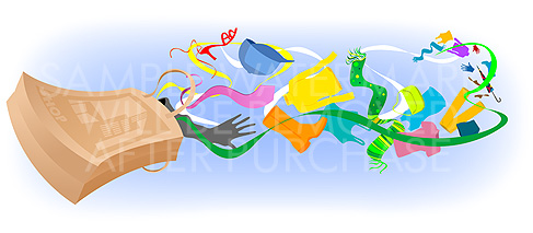 Illustration Featuring Clothes Flying Out Of The Shopping Bag  915