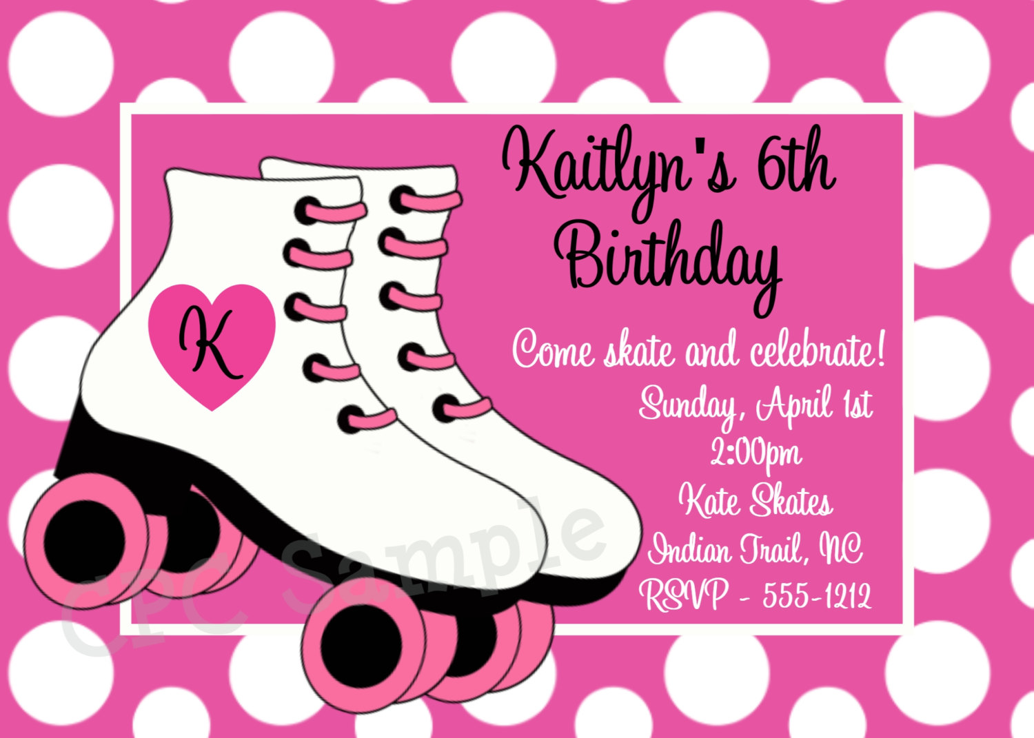 Rollerskating Birthday Invitation Printable Or By Onewhimsychick