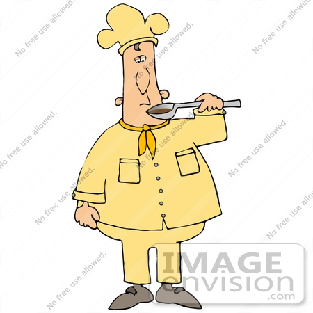 Royalty Free People Clipart Of A Male Caucasian Chef In A Yellow Chefs