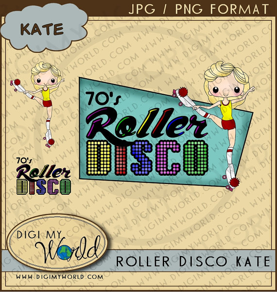 To Disco Roller Skating 1970s Seventies Retro Clipart Images On Etsy