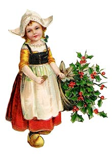 Vintage   Young Girl With Apron And Basket Of Holly