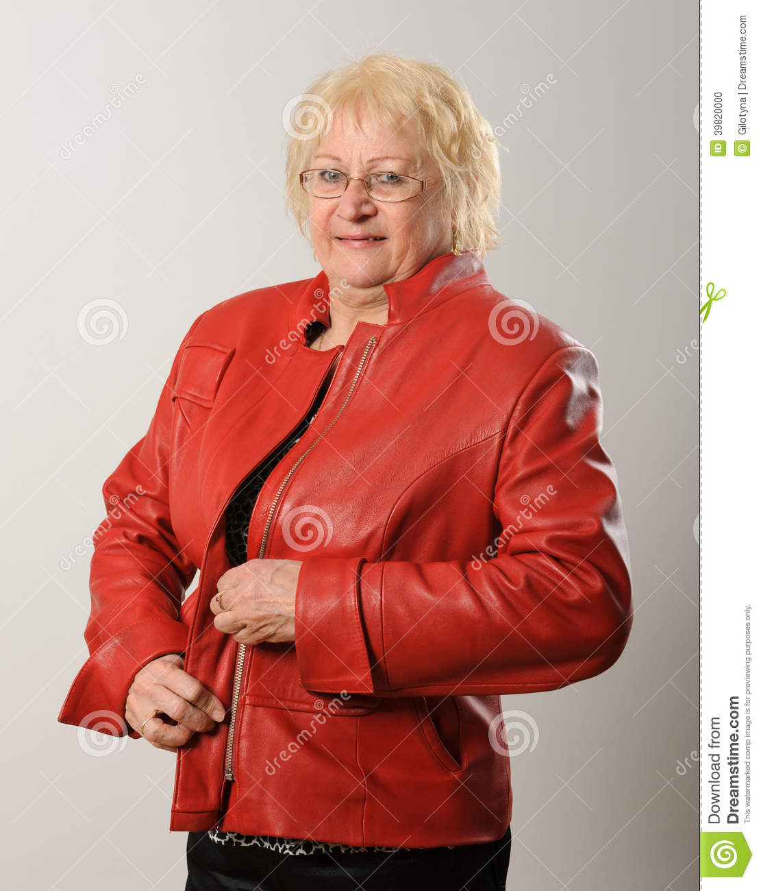 Woman Zipping Red Jacket  Stock Photo   Image  39820000