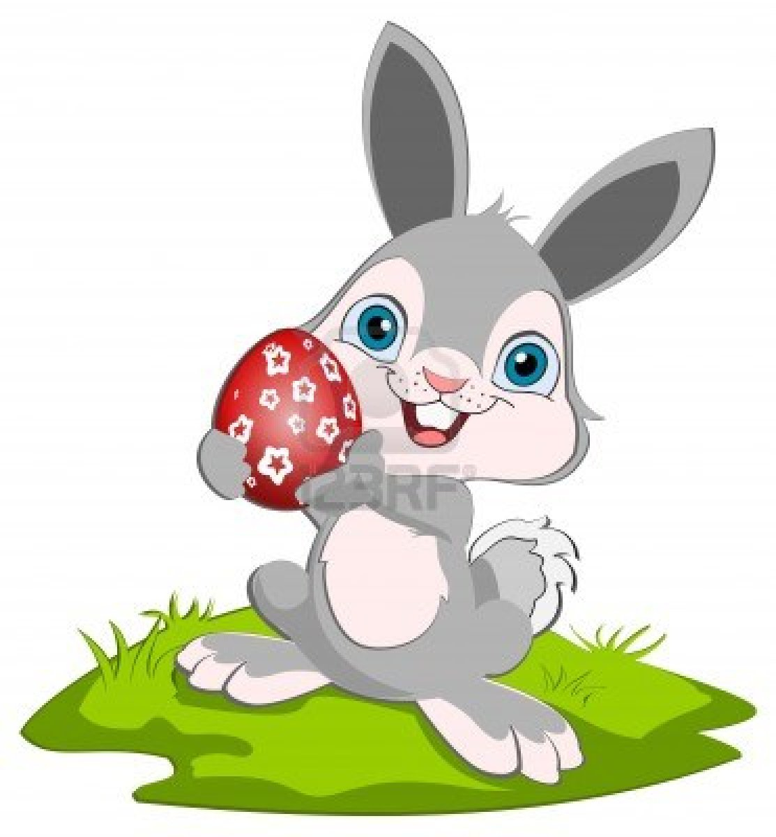 12980013 Easter Bunny Holding O Rad Easter Egg And Smiling