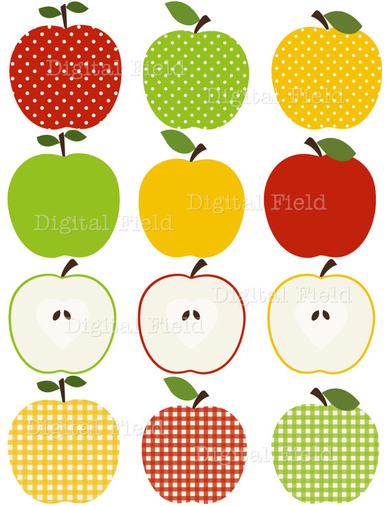 Apple Clip Art Set   Red Green And Yellow Patterned Printable Digital