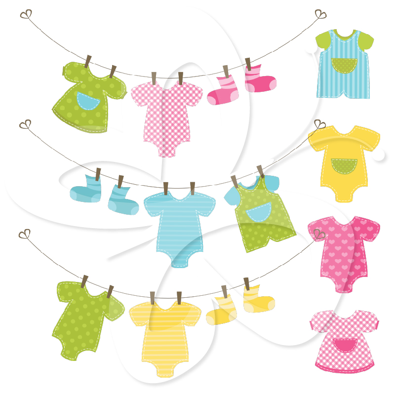 Baby Clothes Line Clip Art Set