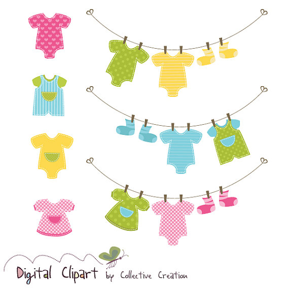 Baby Clothes Line   Onesies Clipart Set   Ideal For Scrapbooking