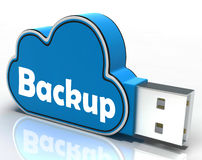 Backup Cloud Pen Drive Means Data Storage Or Stock Photo