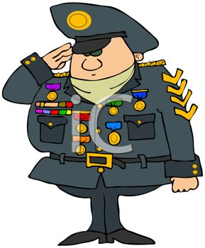 Cartoon Military General With Lots Of Medals   Royalty Free Clip Art