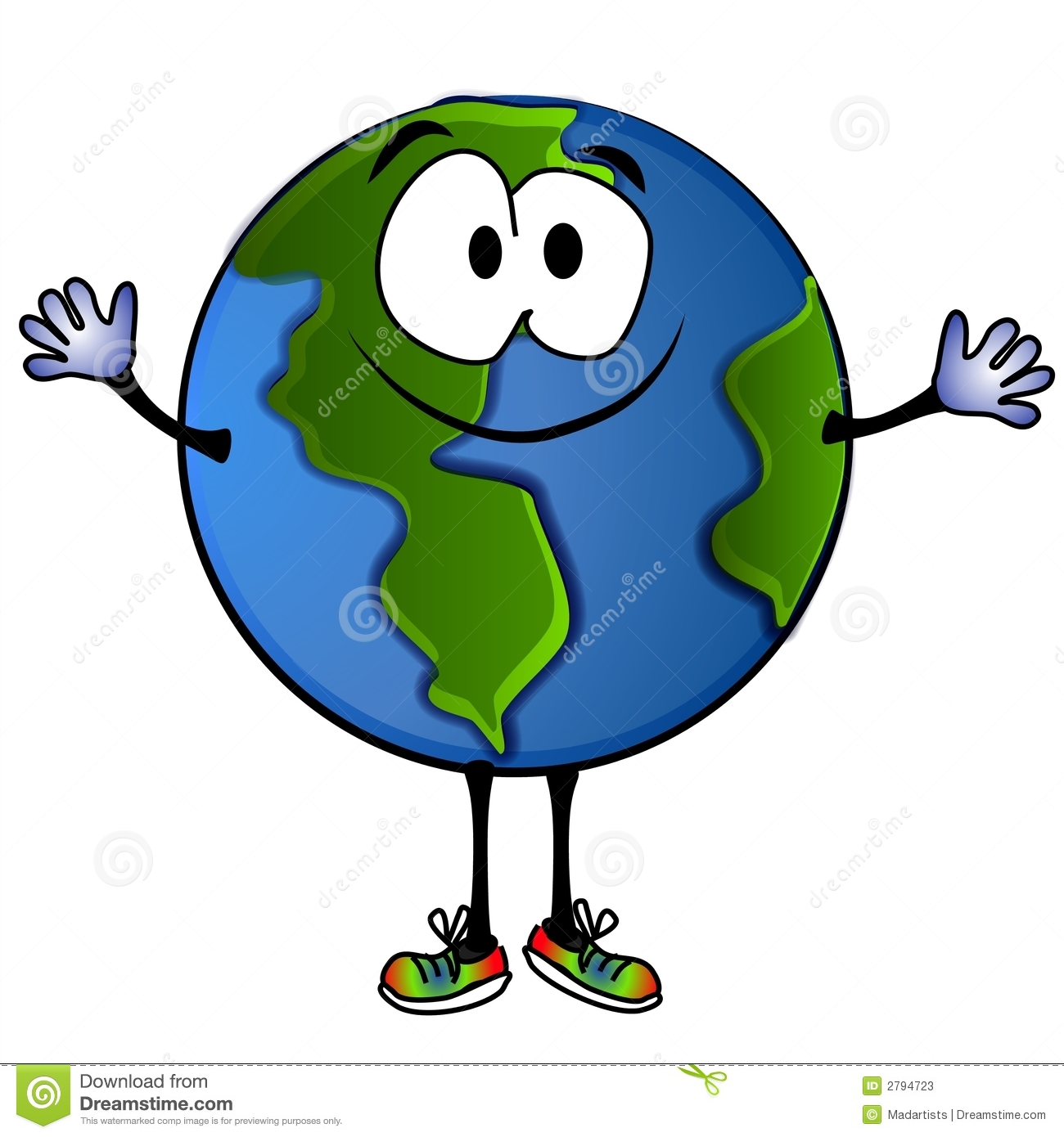 Clip Art Cartoon Illustration Of A Big Fat Smiling Planet Earth With
