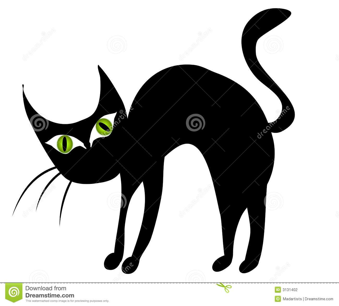 Clip Art Illustration Of A Black Cat With Big Green Eyes With
