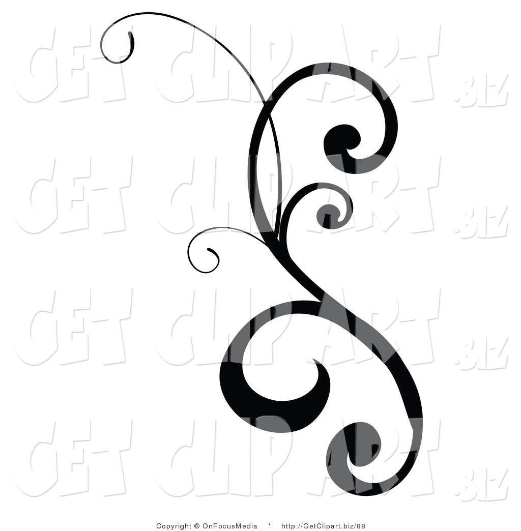 Clip Art Of A Black Design Scroll With Curly Edges On White By